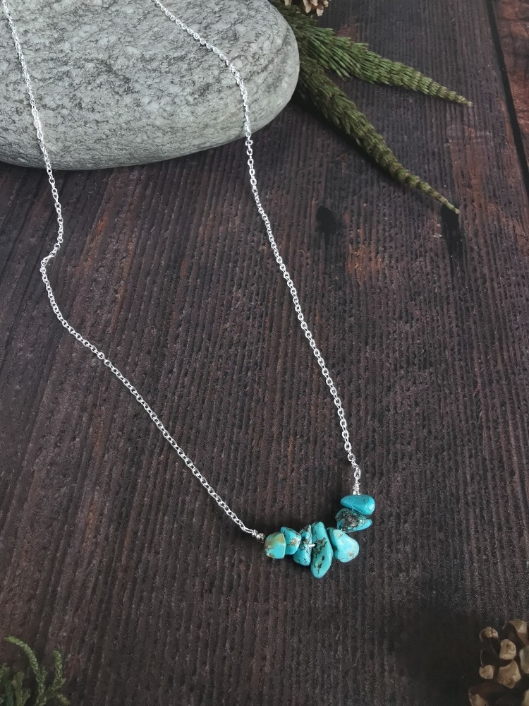 Sterling Silver Turquoise Semi Precious Stone Necklace