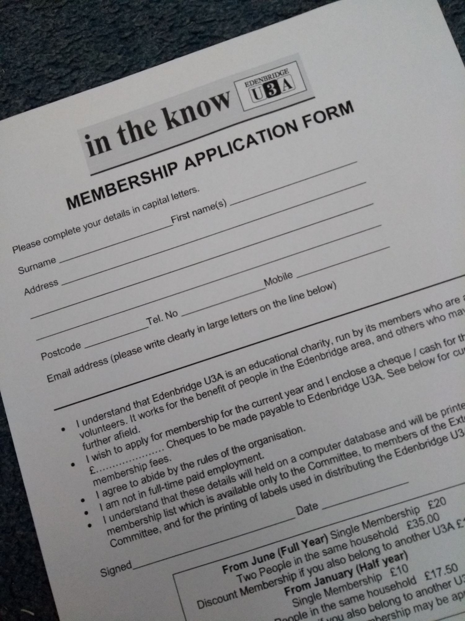 image of application form