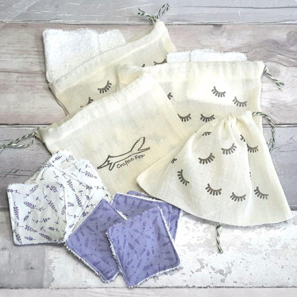 Lavender design cosmetic pads
