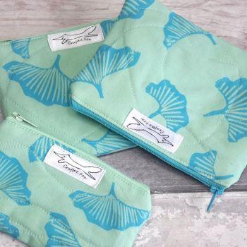 Aqua marine Gingko leaf