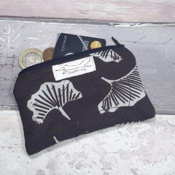 Black & white Gingko mini purse