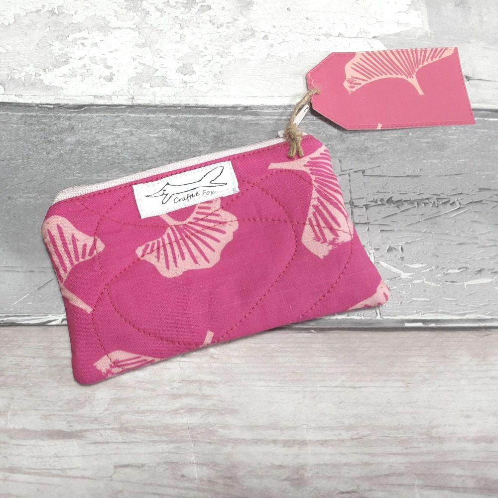 Fuchsia Gingo mini pouch