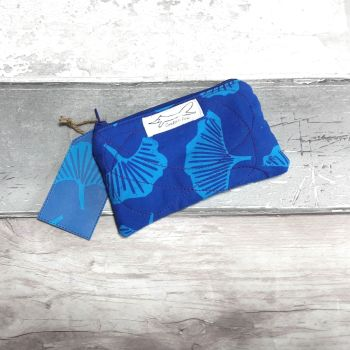 Peacock blue Gingko mini purse