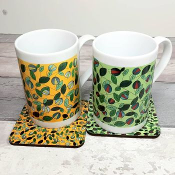 Green or Yellow Vine porcelain mug and matching coaster