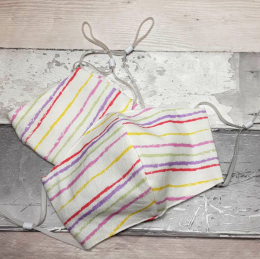 Multicoloured stripes fabric face covering