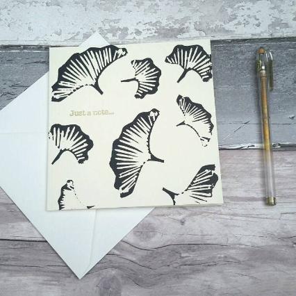 Gingko leaf handprinted blank greeting card
