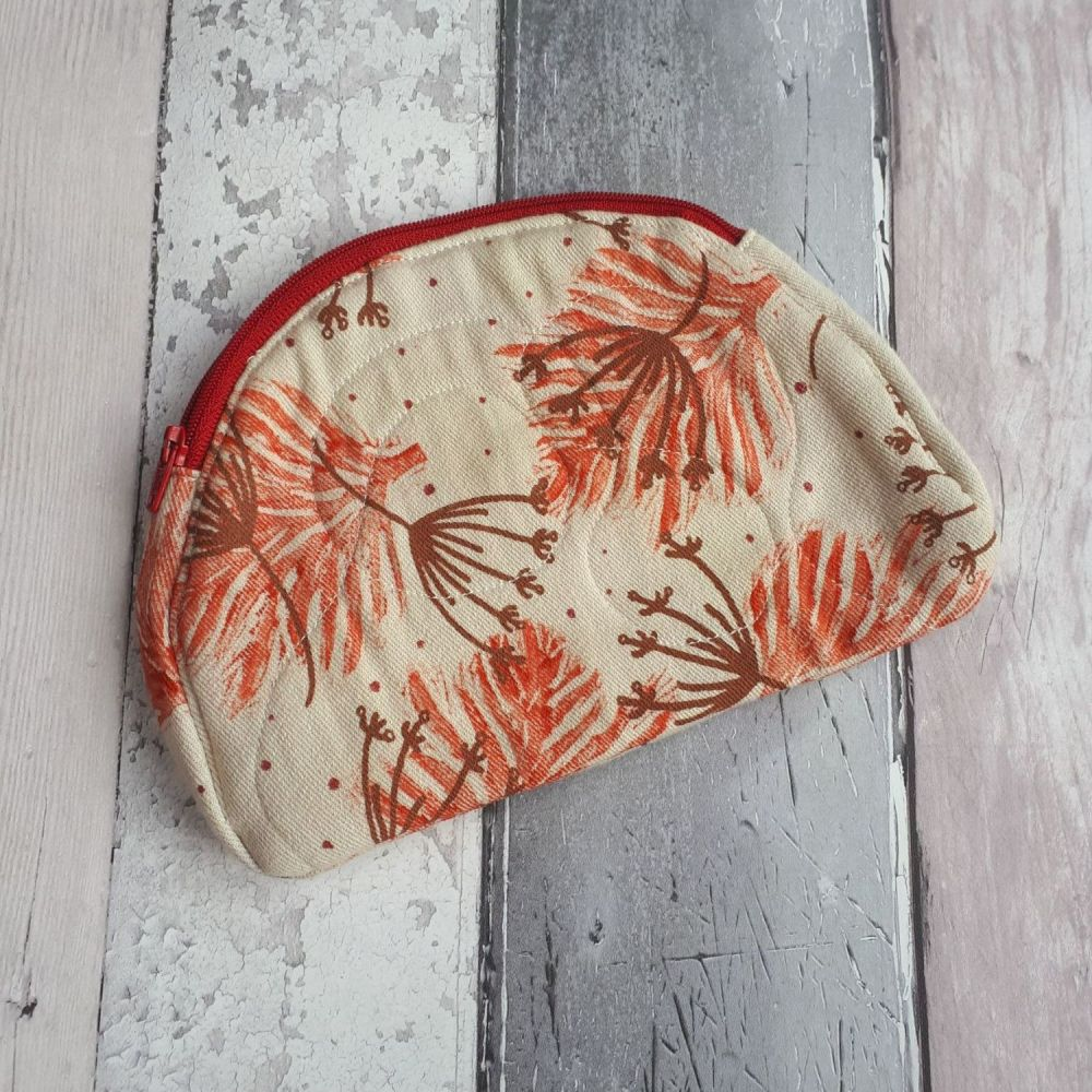 Handprinted organic cotton make up pouch