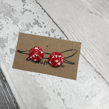 Red with white vines button earrings