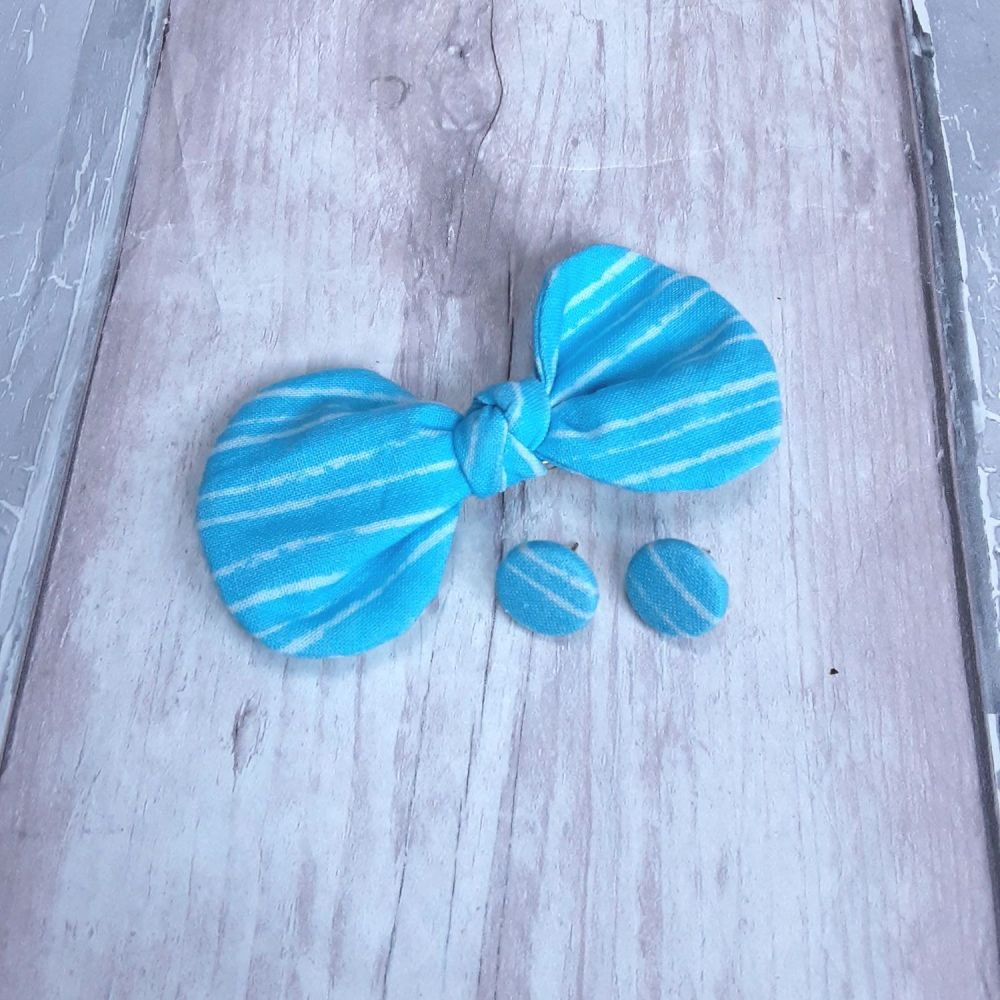 Blue stripped hair bow on clip and button earrings