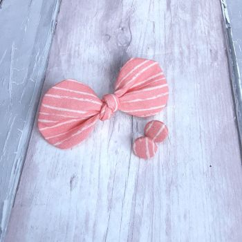 Coral stripped hair bow on clip and button earrings