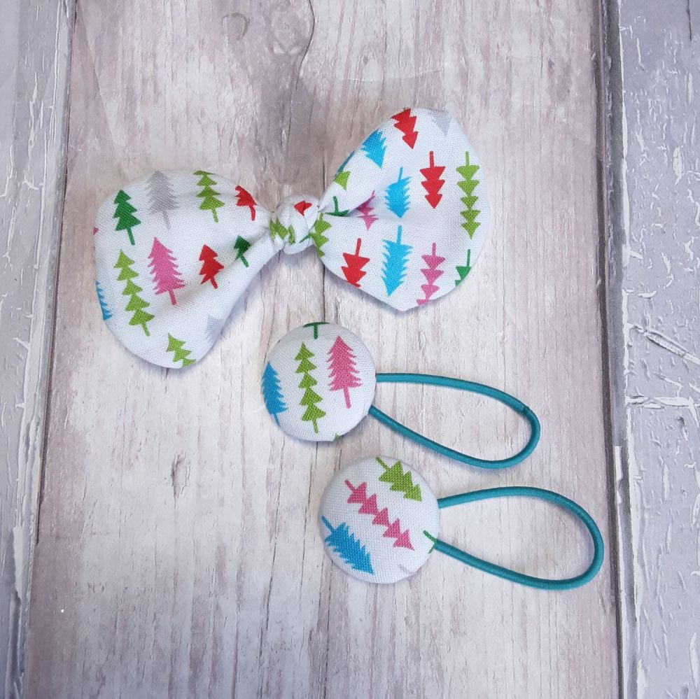 Christmas trees hair bow on clip and bobbles