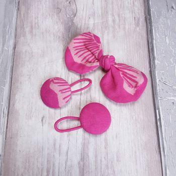 Pink Gingko hair bow on clip and bobbles