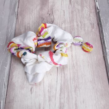 Rainbow Scrunchie and earrings set