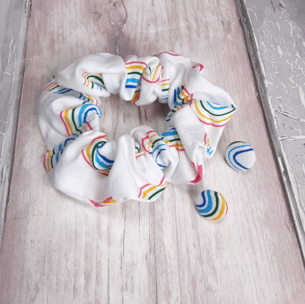 Bright Rainbow Scrunchie and earrings set