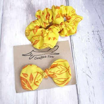 Yellow scrunchie and hair bow set