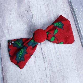 Red with holly leaves hairbow slide