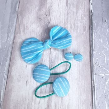 Blue stripped hair bow on clip, hair bobbles and button earrings