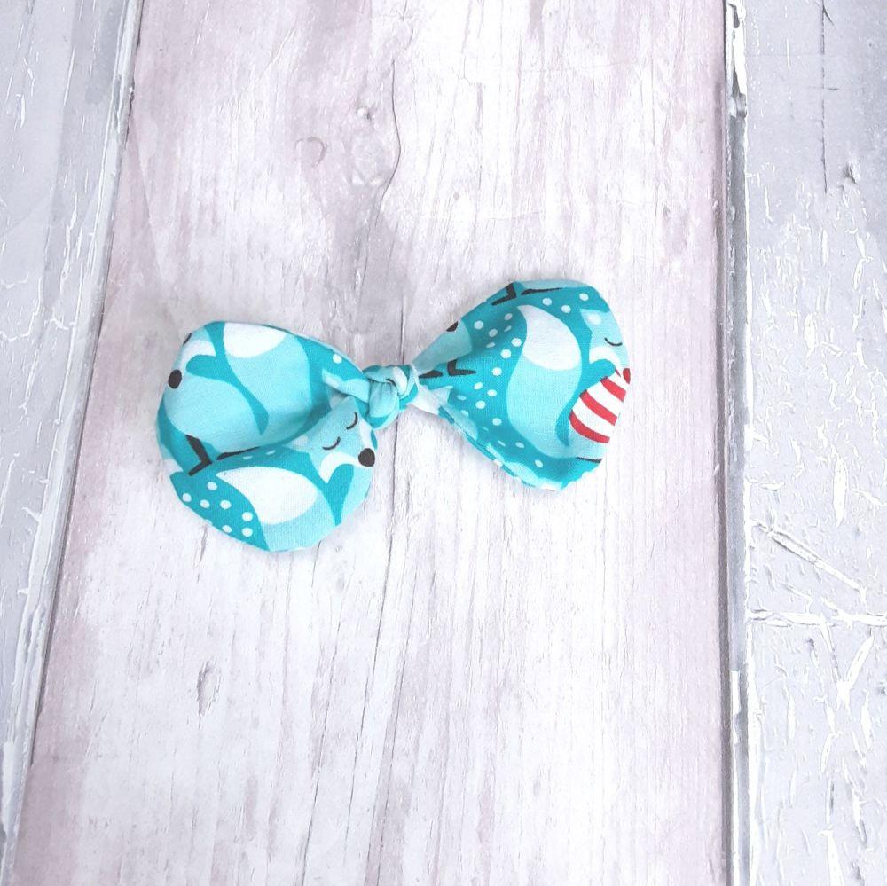 Blue fox Christmas hairbow slide