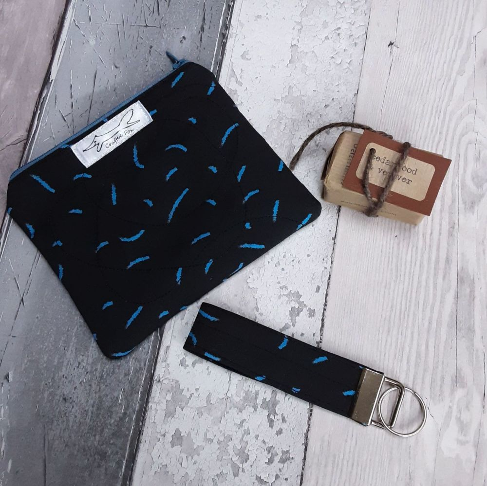 Black and blue Confetti pouch gift set