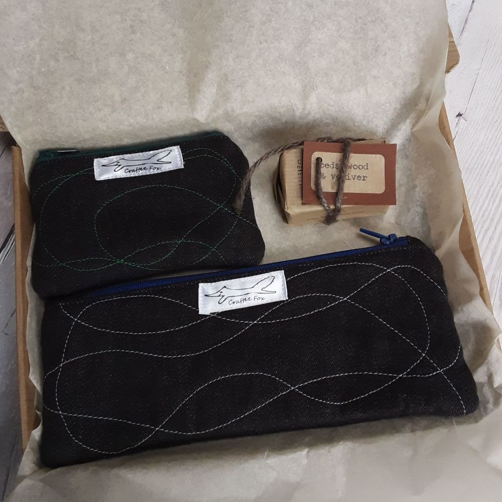 Black organic cotton pouch gift set