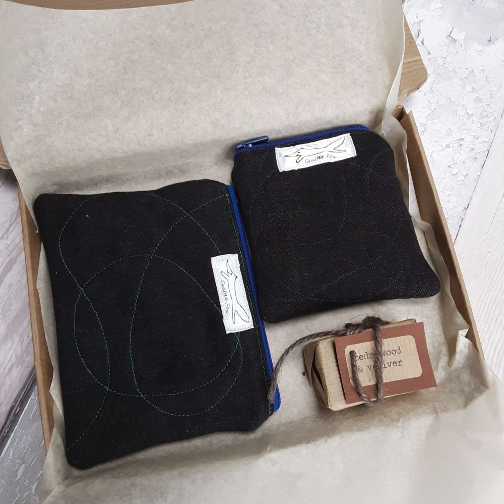 Black organic cotton 2 pouch gift set