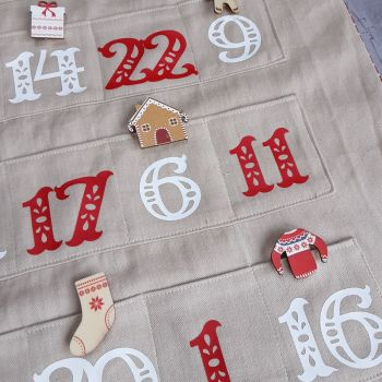 Natural fabric Advent Calendar with red and white numerials