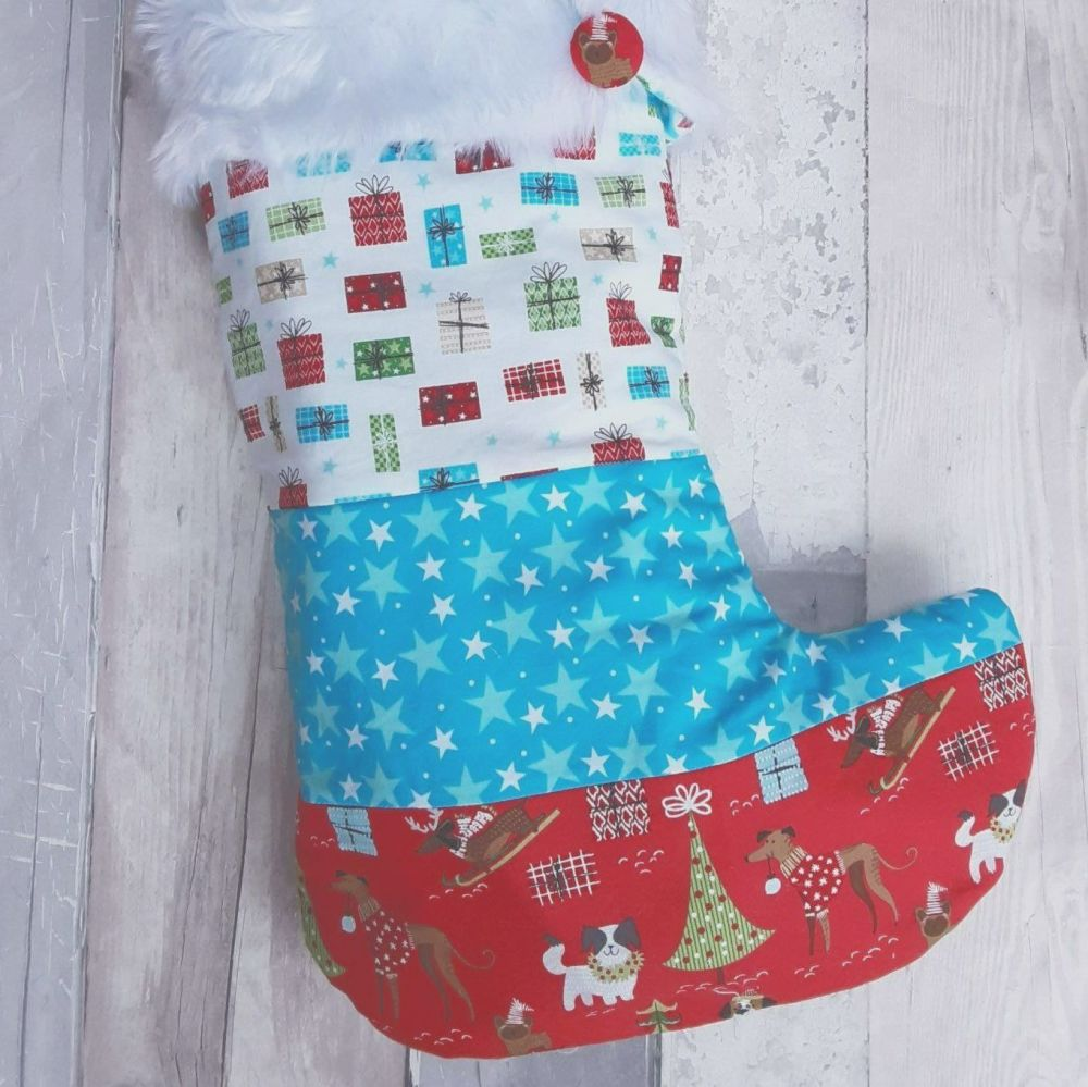 Christmas dogs red and blue patchwork stocking