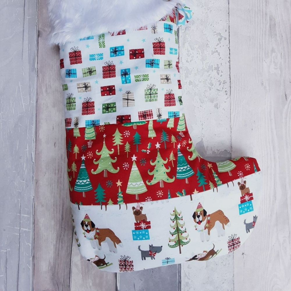 Christmas dogs white patchwork stocking
