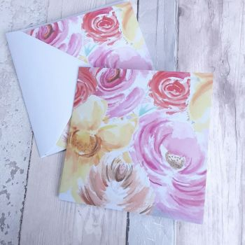 Watercolour flowers card