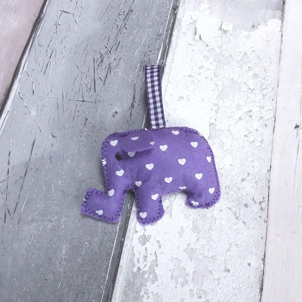 Purple felt elephant decoration
