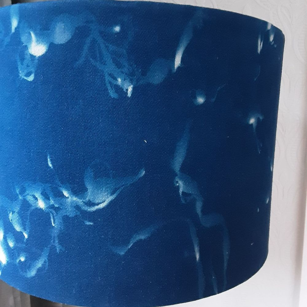 30cm Drum cyanotype lampshade