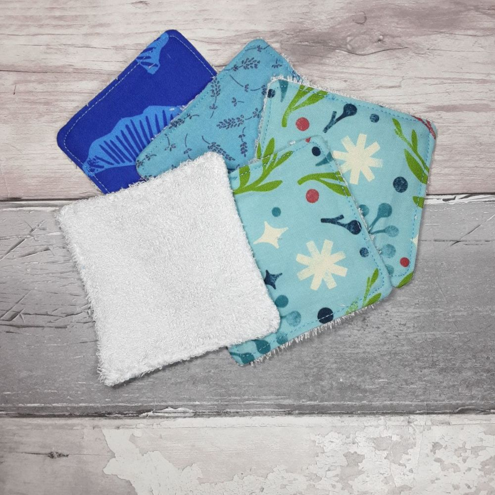 Blue reusable face wipes medium