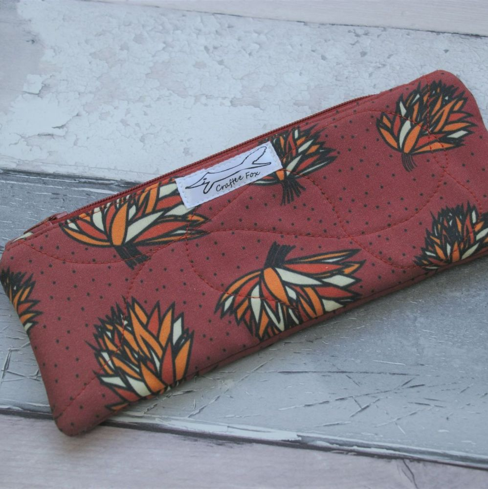 Red Rust rectangle padded pouch