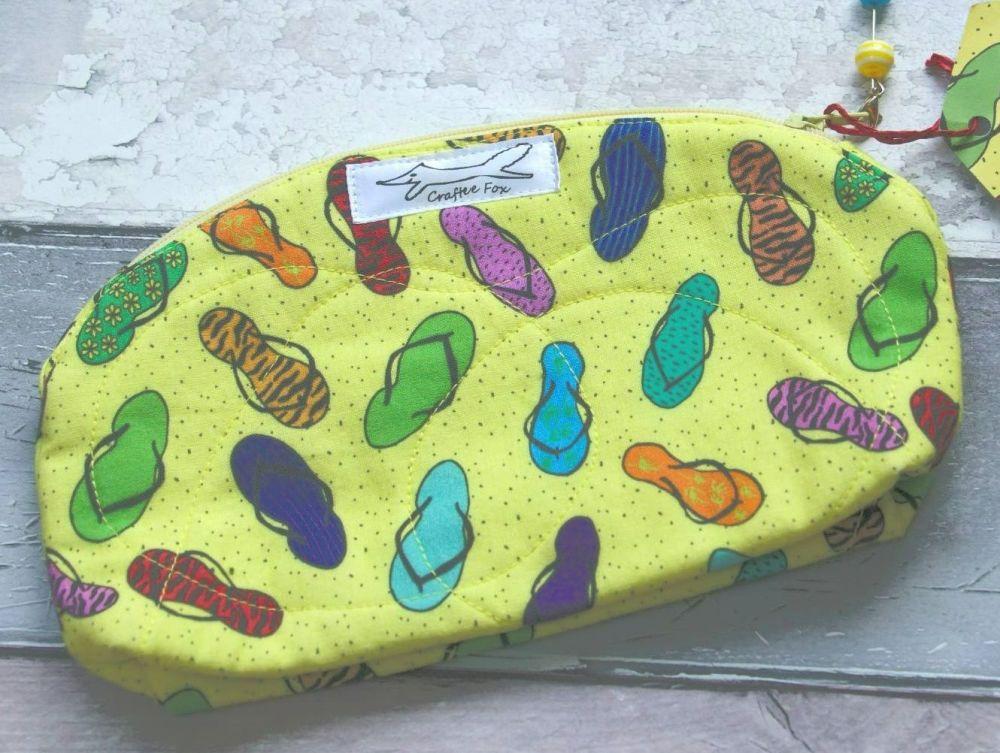 Yellow Flip Flop Make up bag