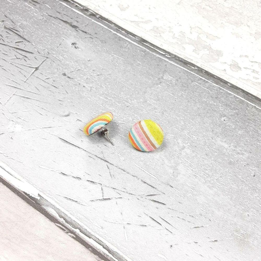 Stripped button earrings