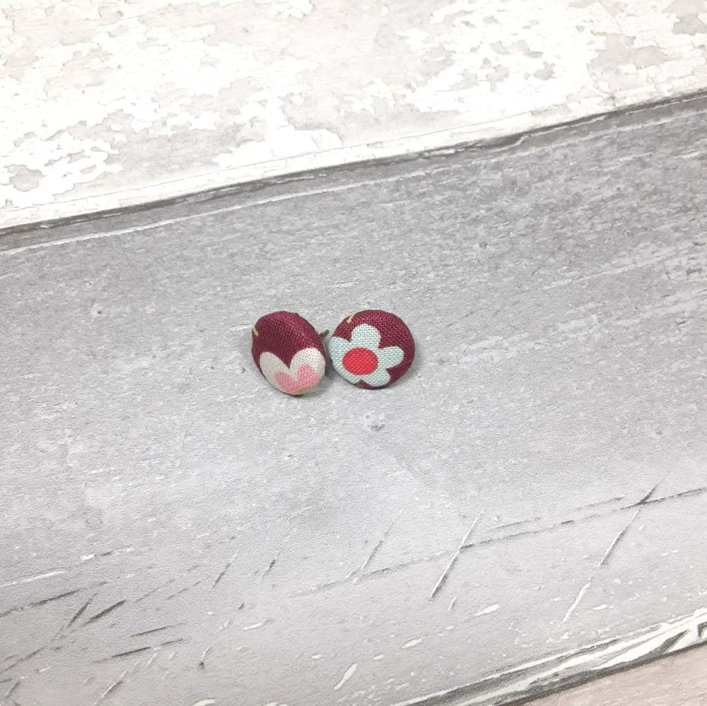 Burgundy floral button earrings
