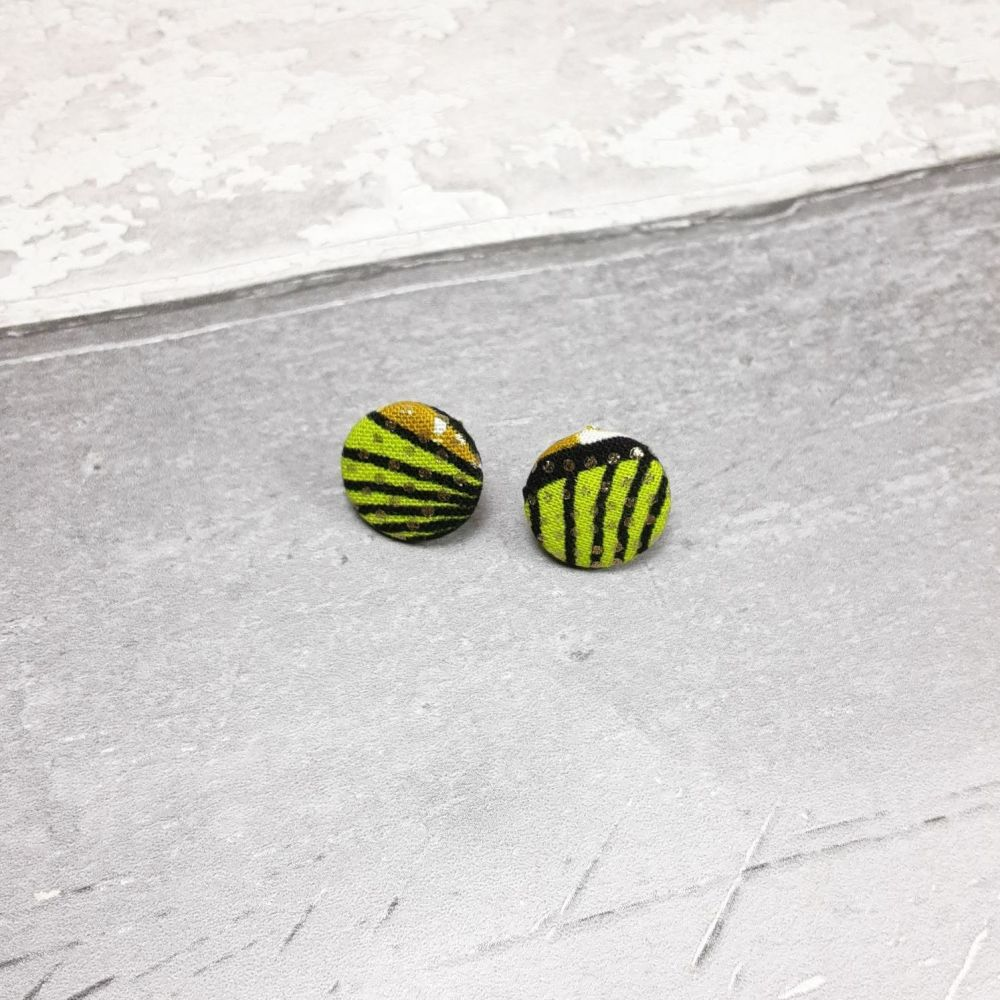 Green and gold button earrings