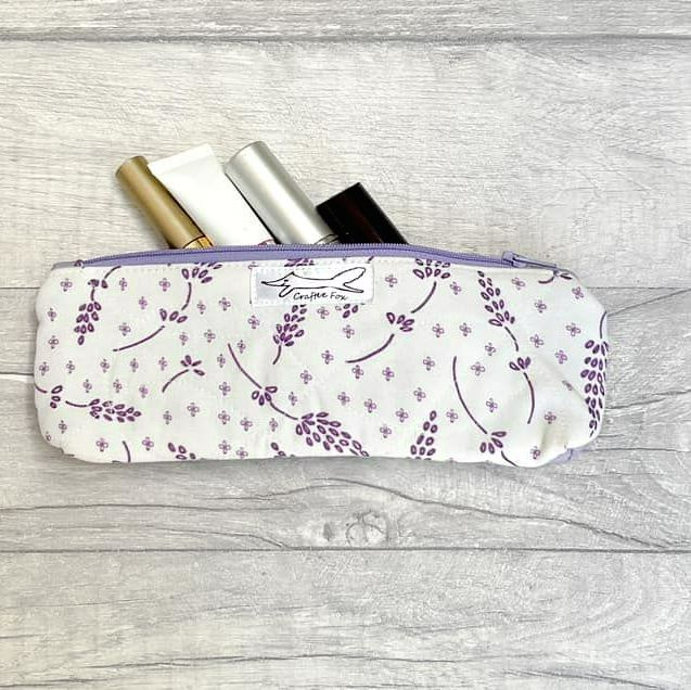 Lilac and White Lavender slimline pouch