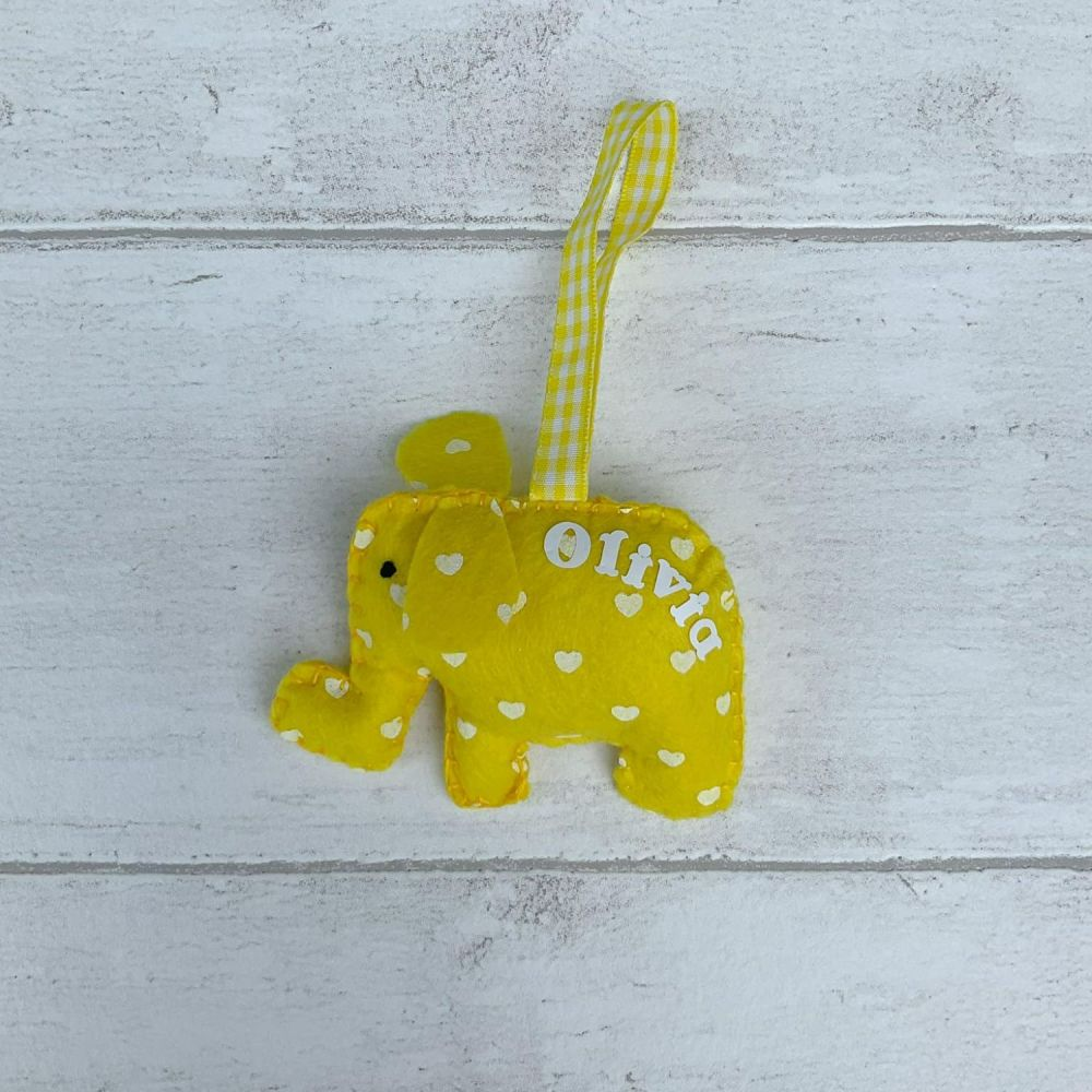 Yellow felt elephant decoration