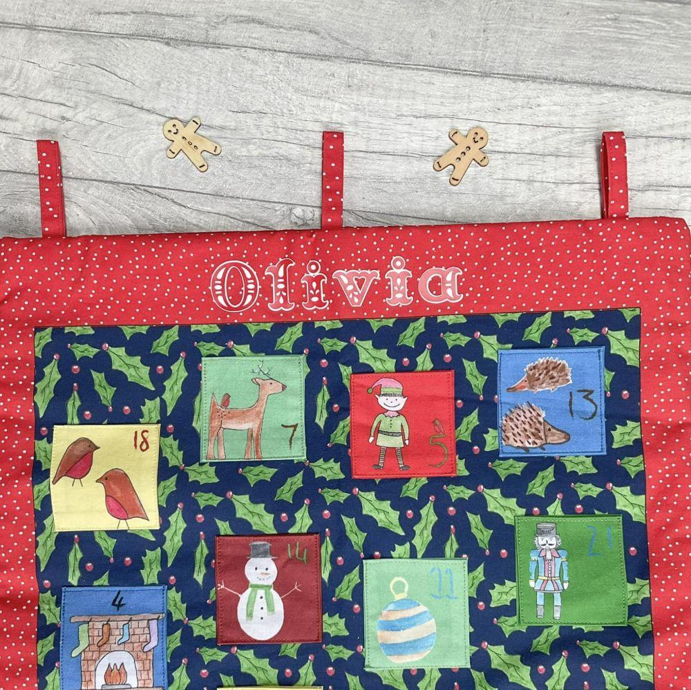 Personalised Christmas cotton advent calendar