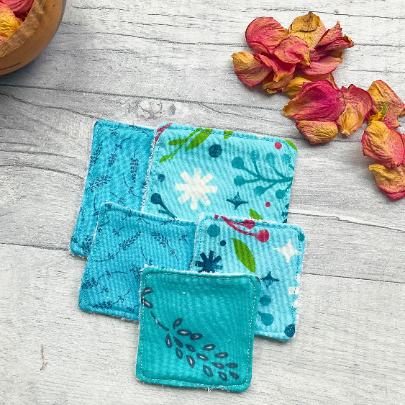 Blue reusable face wipes medium and small