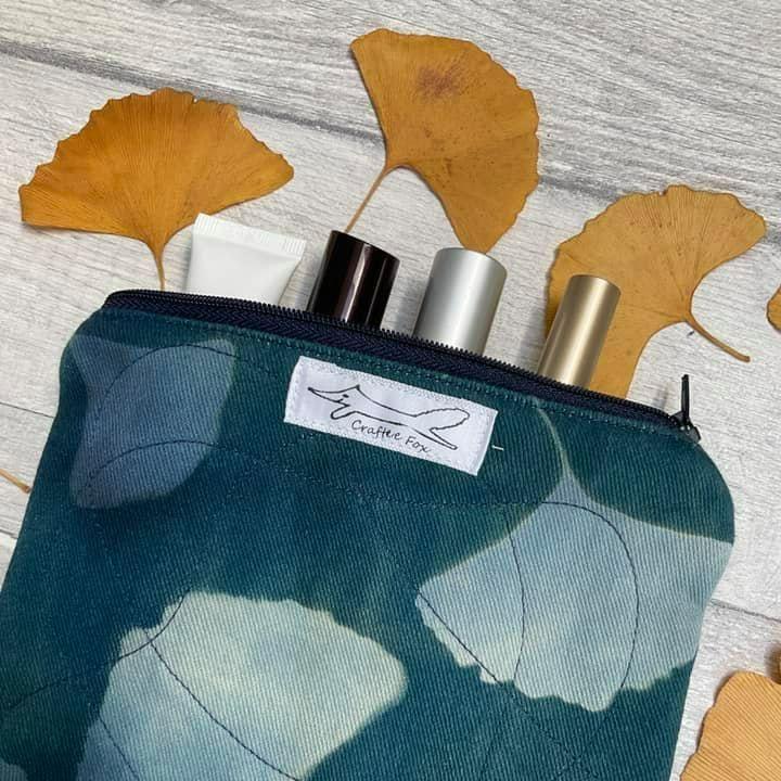 Gingko cyanotype purse