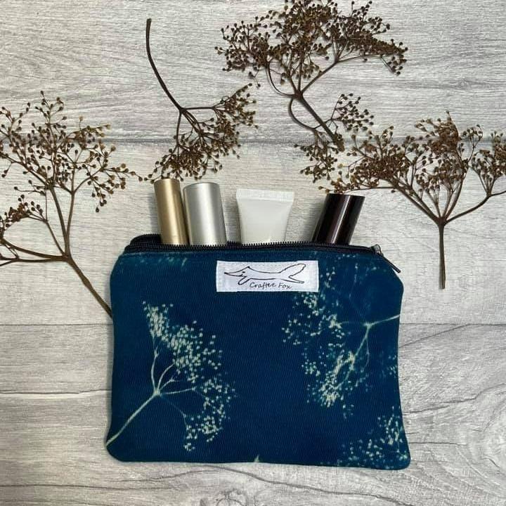 Cyanotype Elderflower print pouch