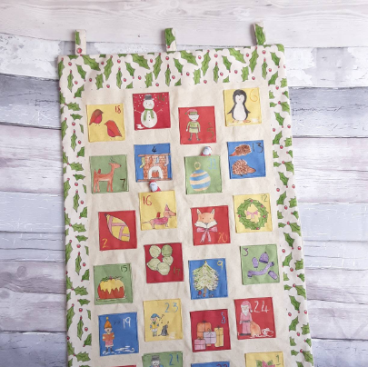 Make your own advent calendar - cotton fabric - white colourway