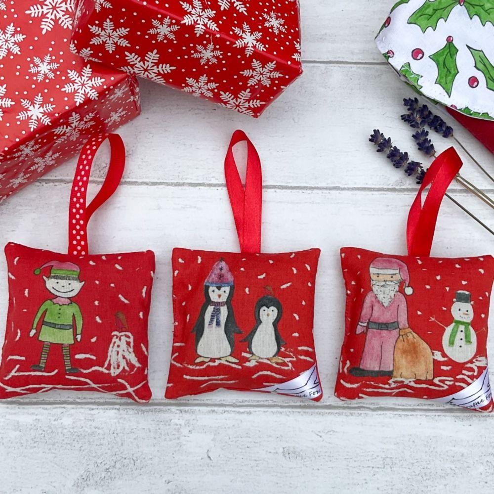 Red Christmas lavender bag