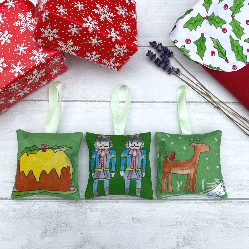 Green Christmas lavender bag