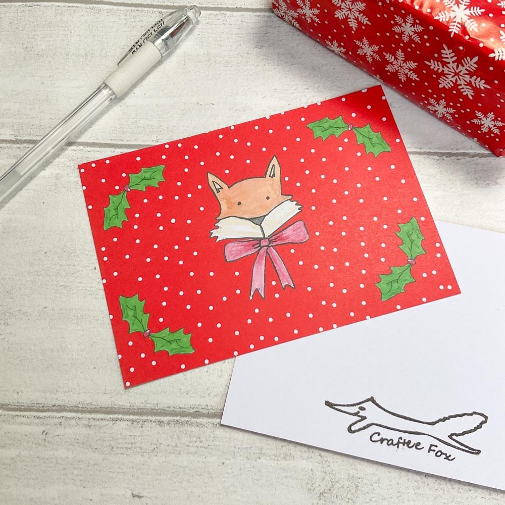 Festive Fox Christmas postcard