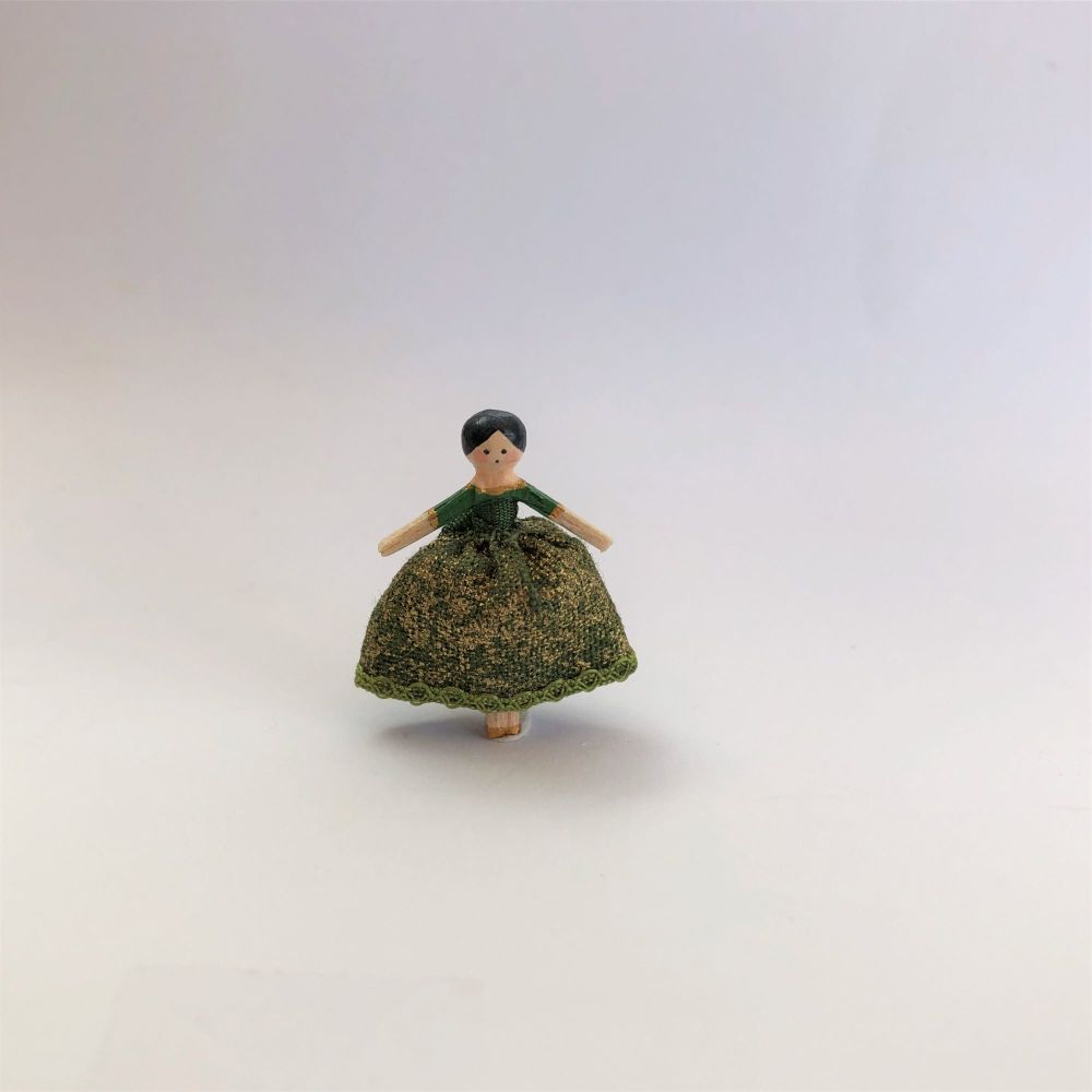 18th Century Wooden Doll Green