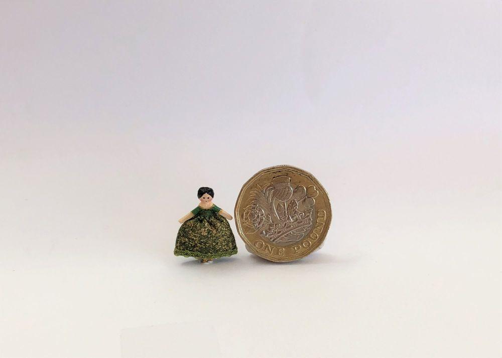 Tiny 18th Century Wooden Doll Green