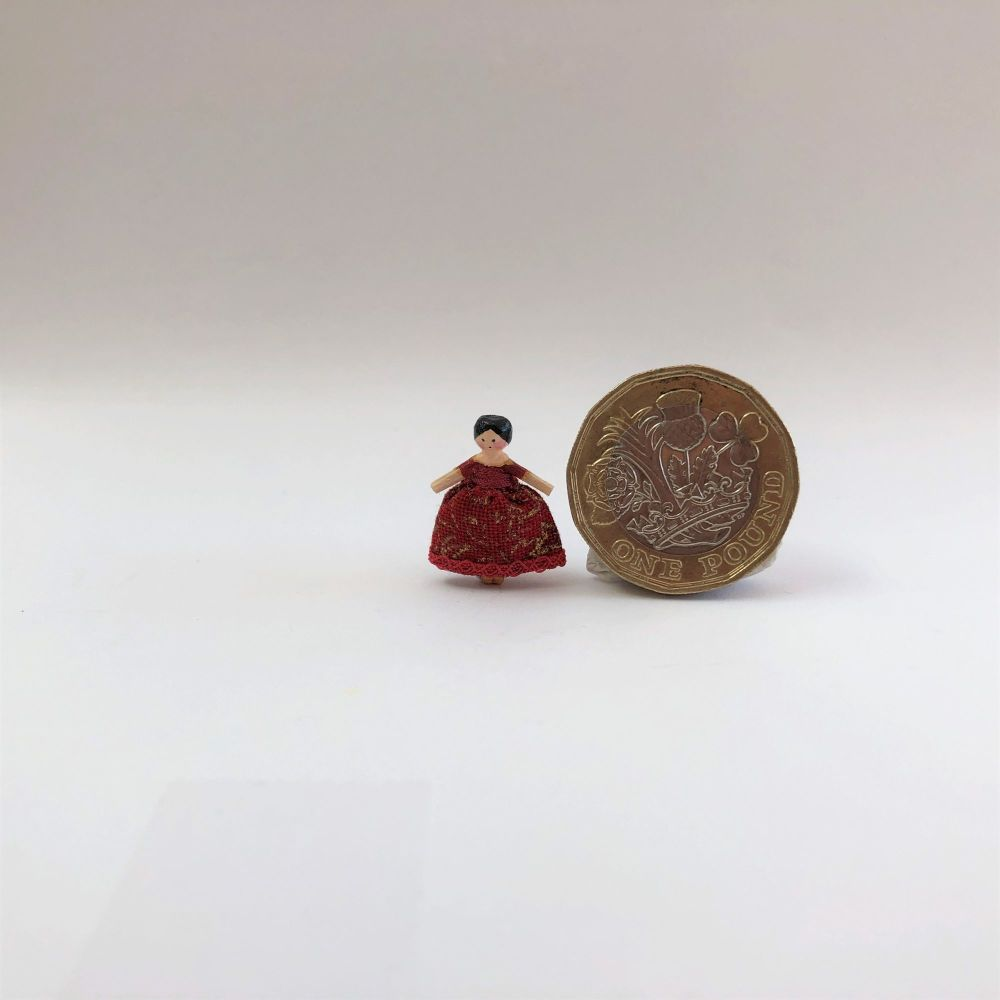 Tiny 18th Century Wooden Doll Red